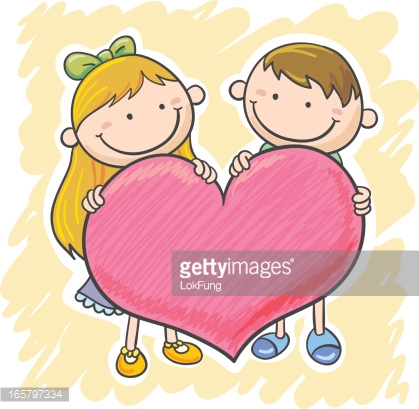 Big boy small boy clipart banner library Little Girl And Boy With A Big Heart Vector Art | Getty Images banner library