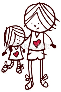 Big brother with 2 younger brothers standing clipart clip black and white stock Brother and sister doodle sketch with red heart shape | Ashlee in ... clip black and white stock