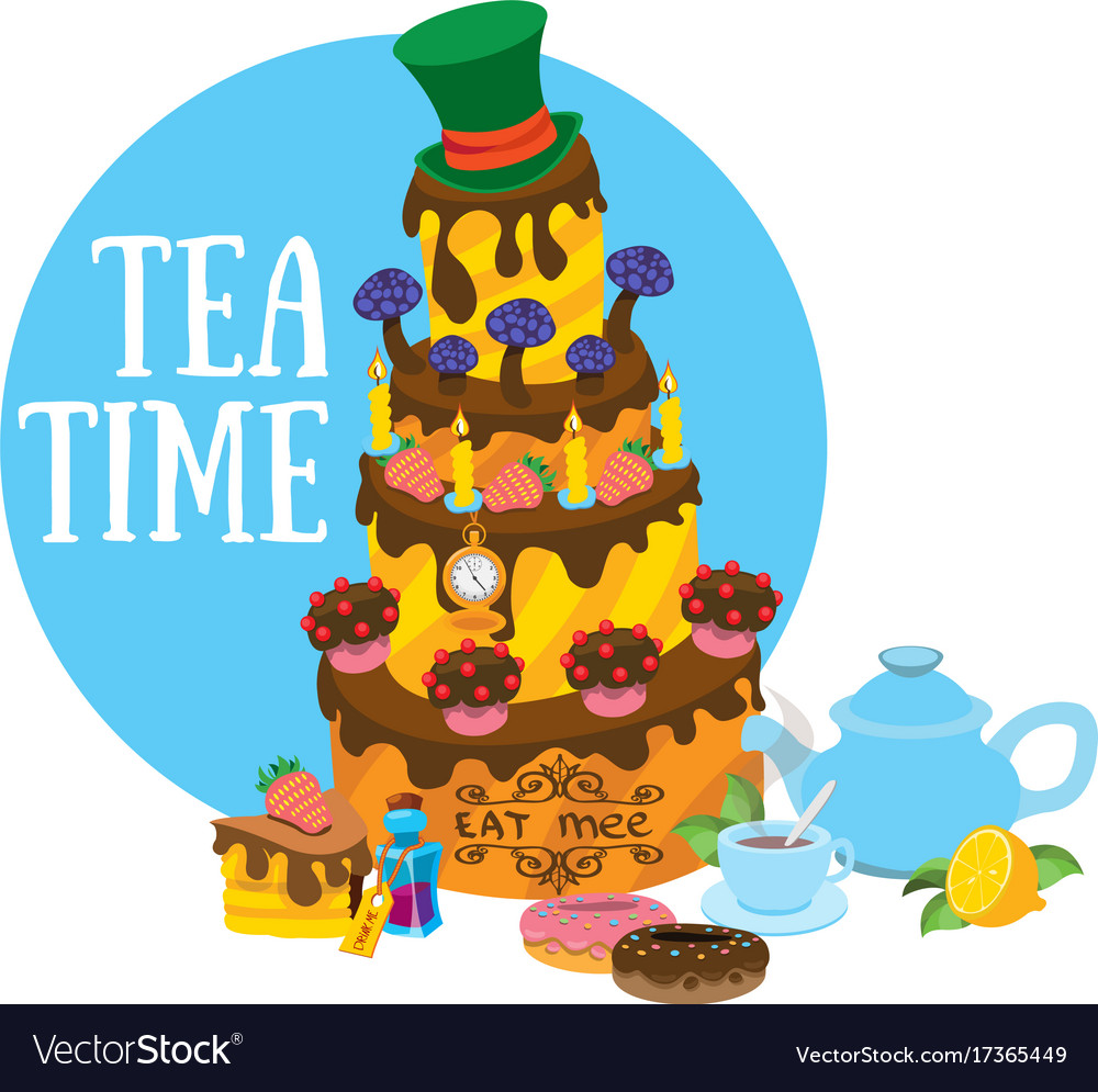 Big cake clipart clipart freeuse Big cake and pastries tea party refreshments to clipart freeuse