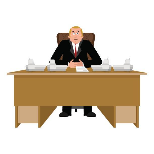 Big chief clipart png download President at desk. Big boss at table. Director in office. Chief ... png download
