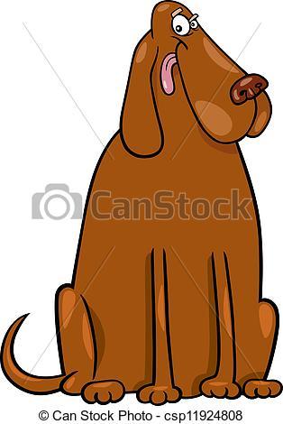Big dog clip art image black and white Vector Clipart of big brown dog cartoon illustration - Cartoon ... image black and white