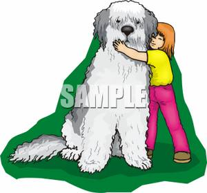 Big dog clipart. Girl hugging kid a