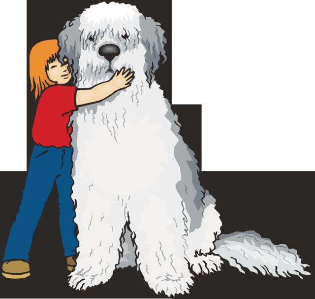 Girl hugging kid download. Big dog clipart