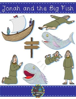 Big fish clipart color black and white stock Jonah and the Big Fish Clipart in Color and Black & White from The ... black and white stock