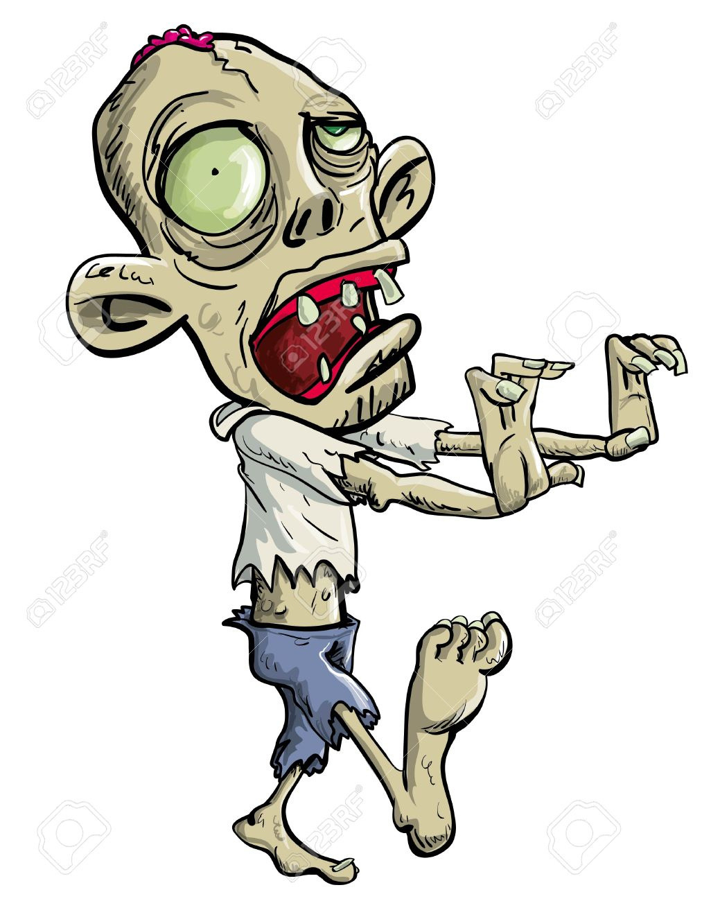 Big head clipart png free stock Zombie Creeping With Big Head Royalty Free Cliparts, Vectors, And ... png free stock