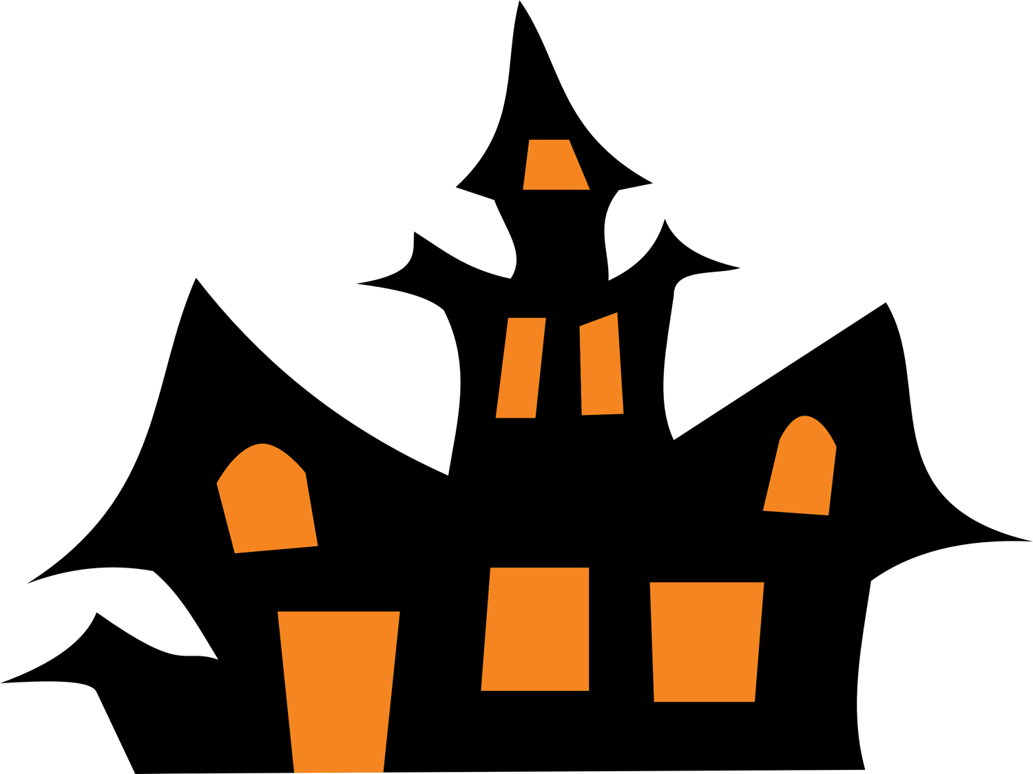 Clipart halloween cutouts png transparent stock Haunted House Clip Art Black And White | Clipart Panda - Free ... png transparent stock