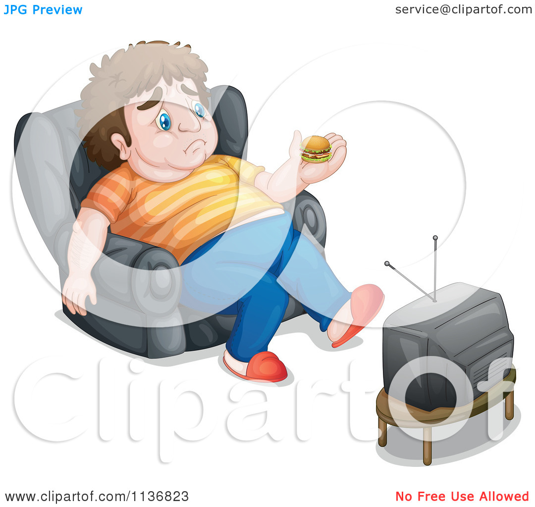 Big man small boy clipart clipart black and white stock Cartoon Of A Fat Man Holding A Tiny Hamburger In Front Of A Tv ... clipart black and white stock