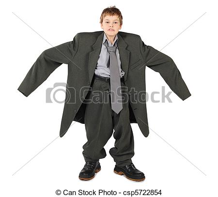 Big man small boy clipart graphic royalty free library Stock Photo of little boy in big grey man's suit and boots nads at ... graphic royalty free library