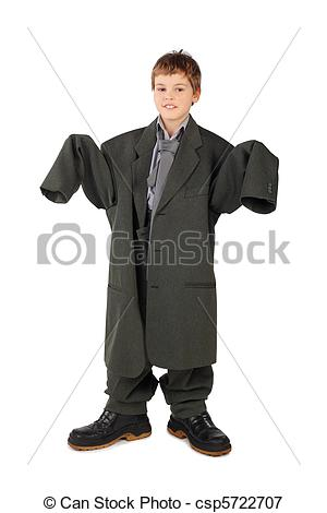 Big man small boy clipart clipart black and white Picture of little boy in big grey man's suit and boots stabding ... clipart black and white