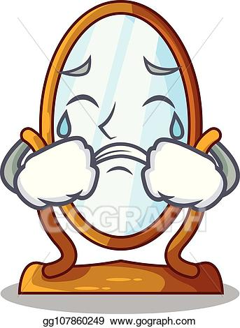 EPS Illustration - Crying cartoon big antique mirror in frame ... clipart transparent library
