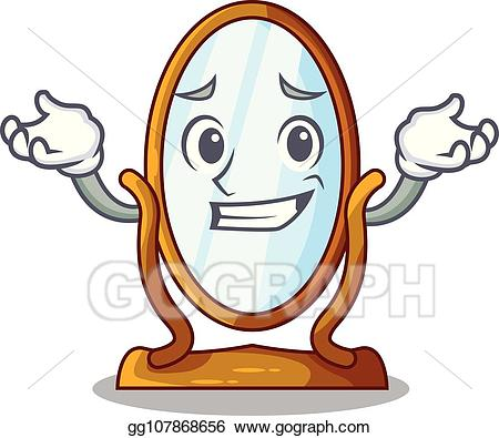 Vector Art - Grinning big cartoon mirror in wooden frame. EPS ... png transparent library