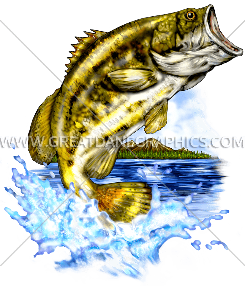 Big mouth bass fish clipart clip library stock Large Mouth Bass | Production Ready Artwork for T-Shirt Printing clip library stock