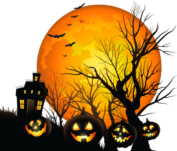 Halloween vintage scary pumpkin clipart banner library library Large Haunted House and Moon PNG Clipart | Things to draw,paint,and ... banner library library