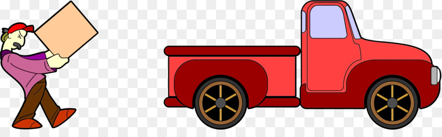 Big red pickup truck clipart