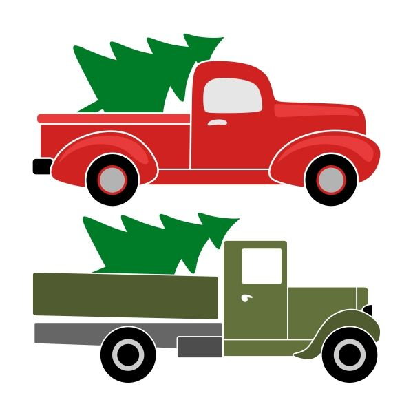 Red vintage ford truck clipart with tree clip free download Christmas Truck SVG Cuttable Designs | Christmas | Christmas truck ... clip free download