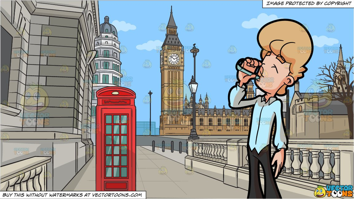 Big road by water clipart image transparent download A Man Drinking A Glass Of Water and A Road Leading To The Big Ben Tower  Background image transparent download