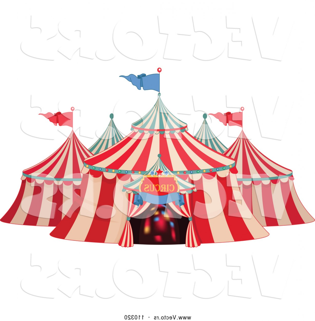 Vector Of Big Top Circus Tent With Lights In The Entrance By Pushkin ... clipart free stock