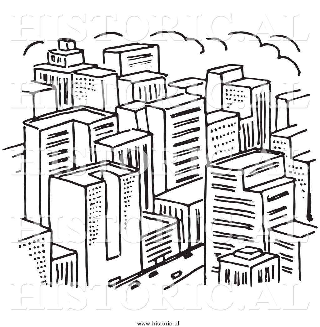 Big town clipart vector download Clipart of a Big City with Lots of Skyscrapers - Black and White ... vector download