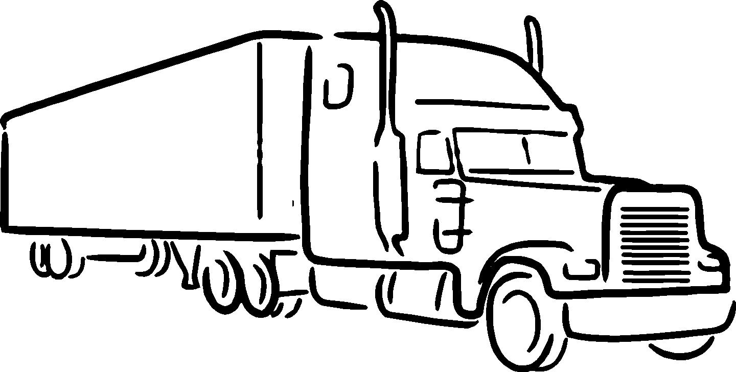 Big truck clipart black and white png freeuse library Semi Truck Line Drawing at PaintingValley.com | Explore collection ... png freeuse library