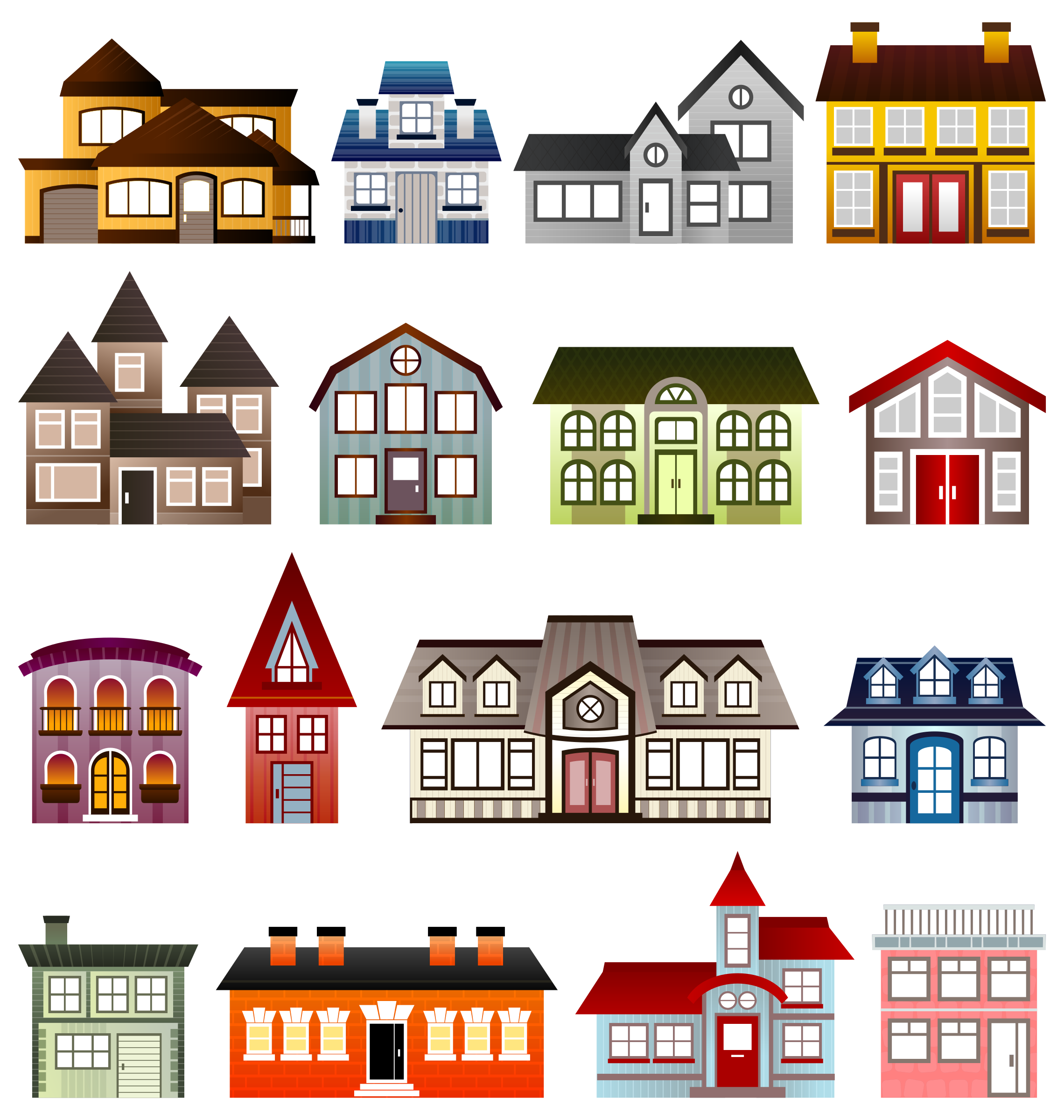 Simple Houses by @Viscious-Speed, set of houses, on @openclipart ... picture free library