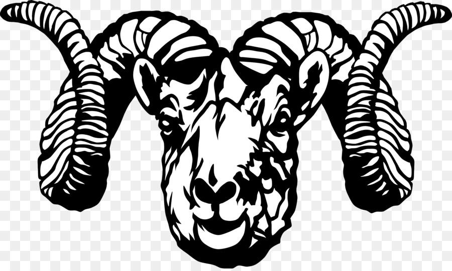 Bighorn sheep head clipart black and white