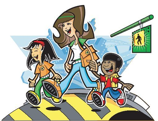 Bike at crosswalk safety clipart picture black and white stock Pedestrian Safety picture black and white stock