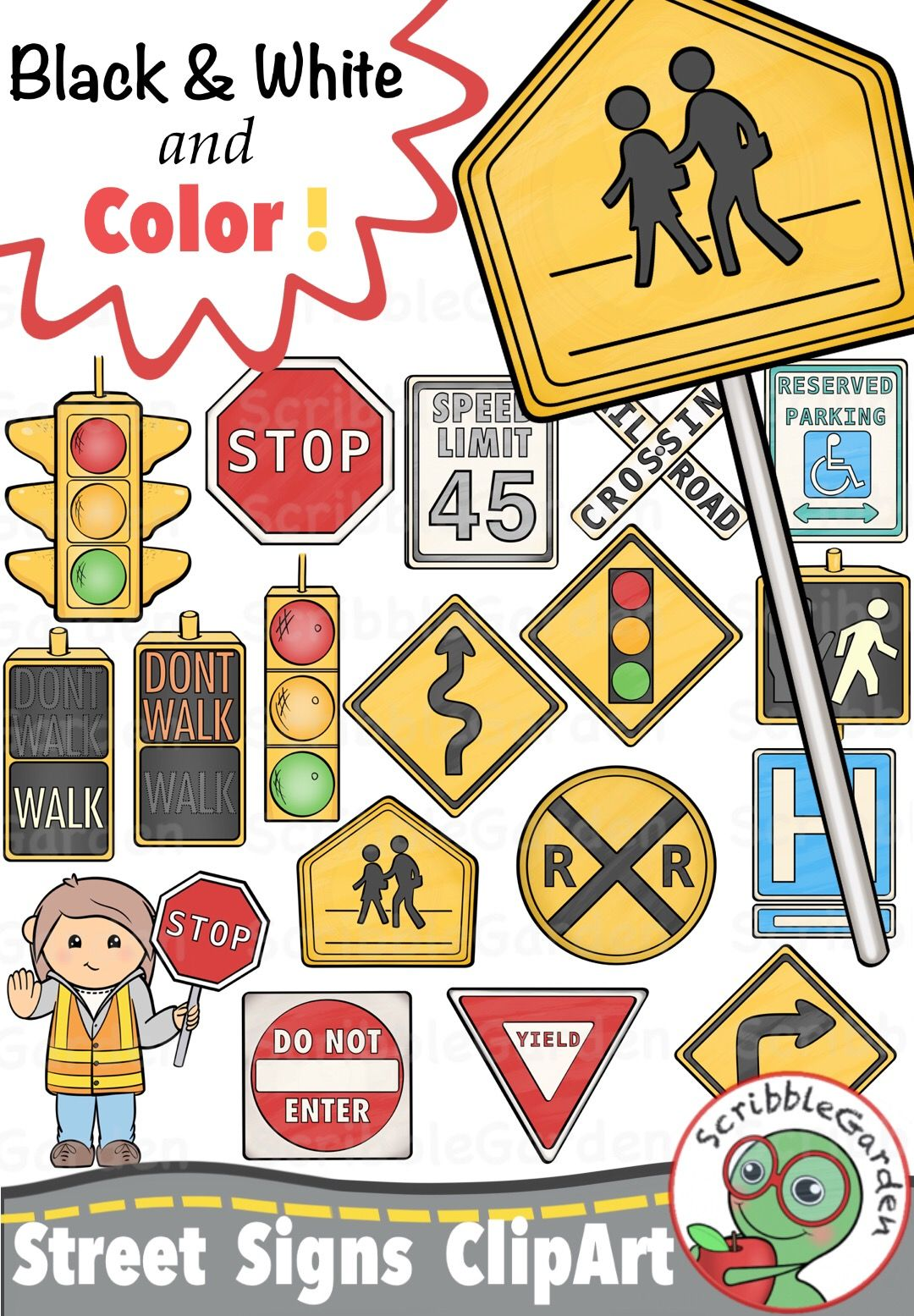 Bike at crosswalk safety clipart graphic royalty free library Road Safety: Street Signs ClipArt | My ClipArt | Street signs, Safe ... graphic royalty free library
