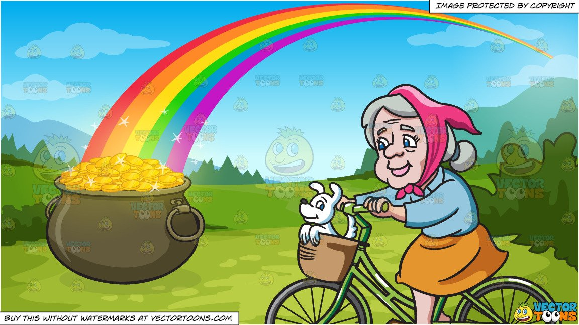 Bike clipart about rainbows vector royalty free A Female Senior Citizen Enjoying A Bike Ride With Her Dog and Pot Of Gold  At The End Of The Rainbow Background vector royalty free