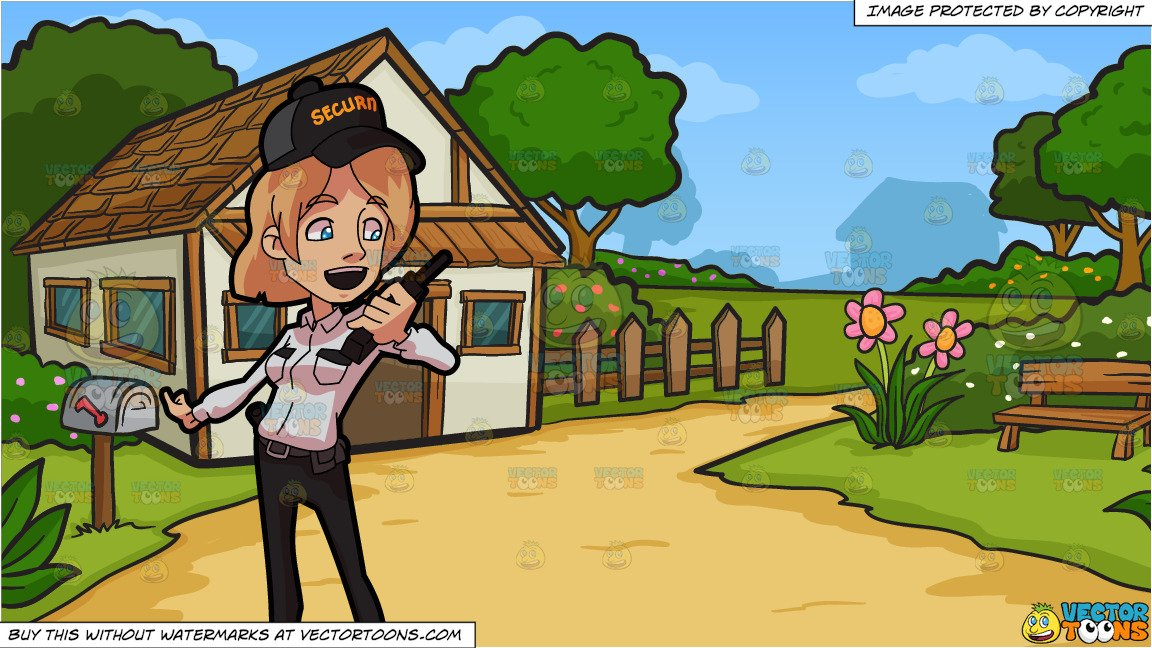 A Female Guard Talking On The Radio and A Countryside Cottage Background png freeuse library