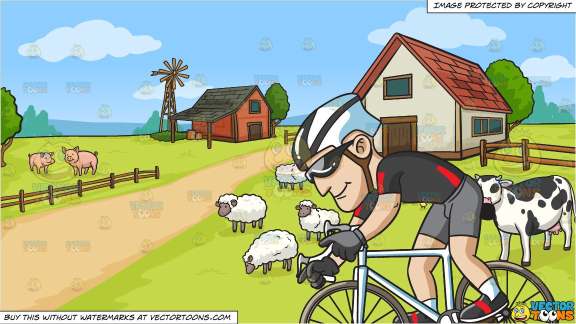 A Man Riding A Bike For Exercise and A Farm Background jpg free