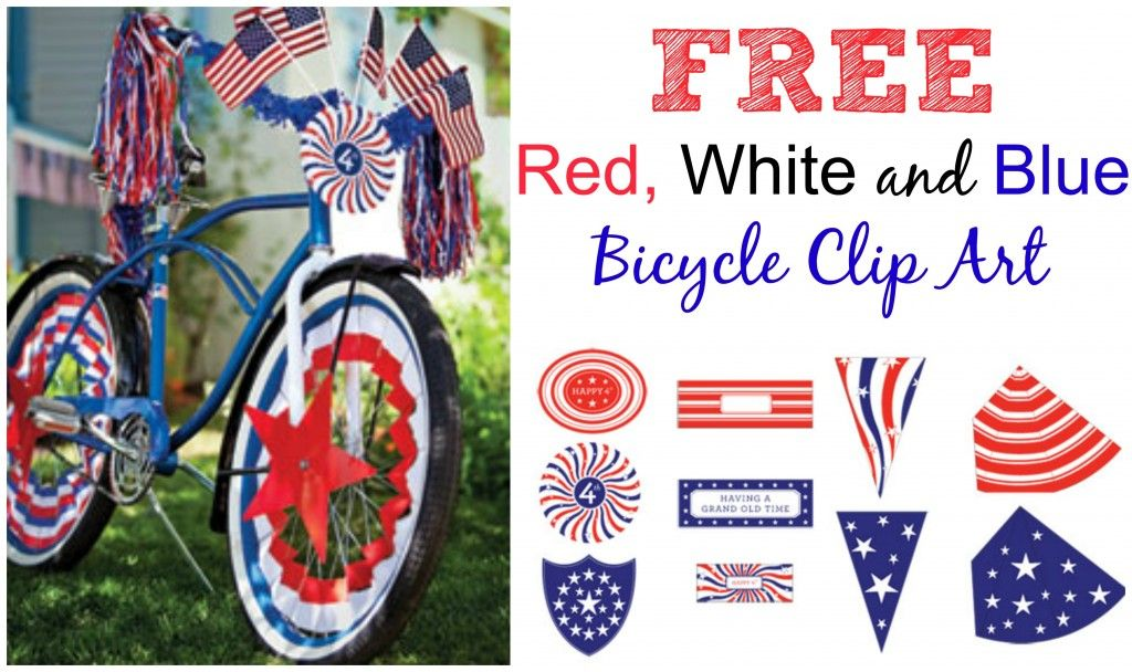 Bike parade clipart clip art black and white library FREE Fourth of July Bike Clip Art from Martha Stewart | 4th of July ... clip art black and white library