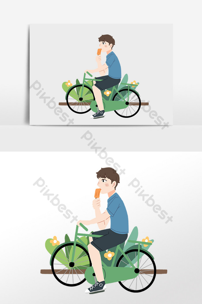 Bike riders eating icecream clipart clipart black and white download Hand drawn summer riding a cool bike eating ice cream boy ... clipart black and white download