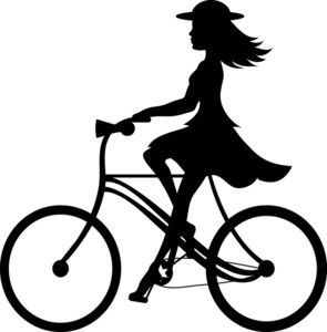 Clipart of a young girl riding a bike jpg library library Bike Riding Clipart Image: Clip Art Ilustration silhouette of a girl ... jpg library library