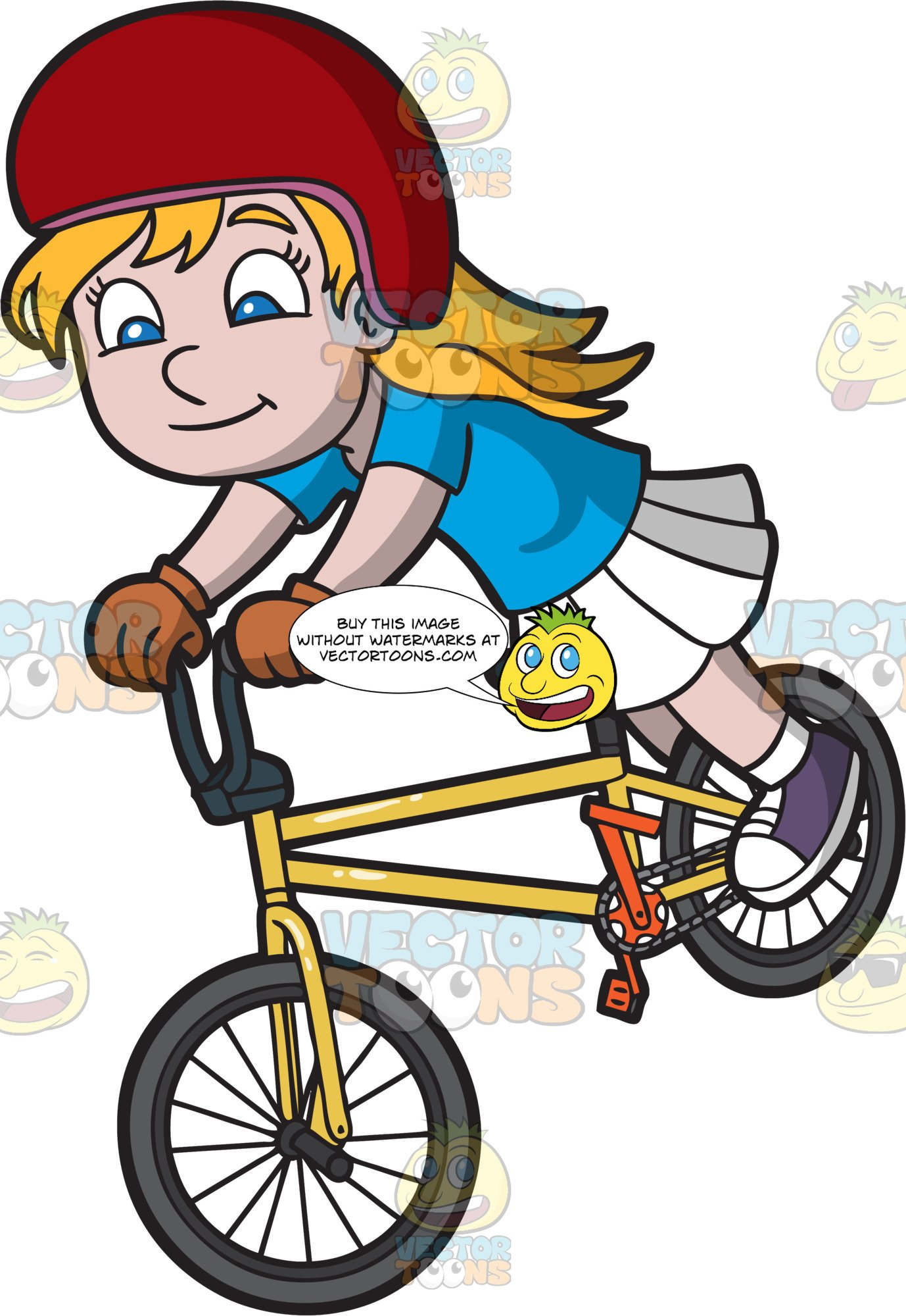 Bike trick clipart vector royalty free download A Happy Girl Doing A Nose Manual Bike Trick vector royalty free download