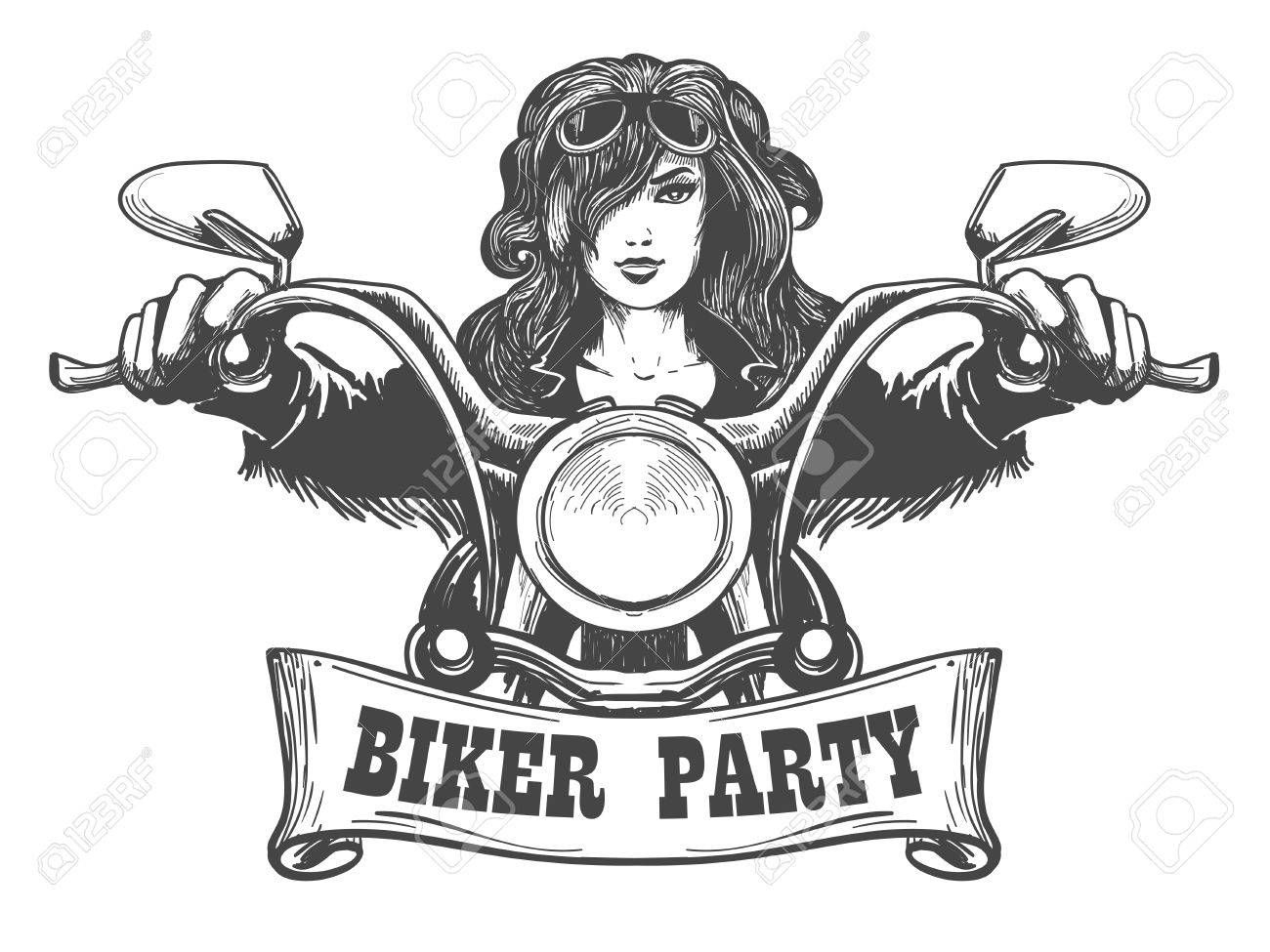 Stock Vector | Moto drawn | Biker party, Motorbike drawing ... clip art transparent stock