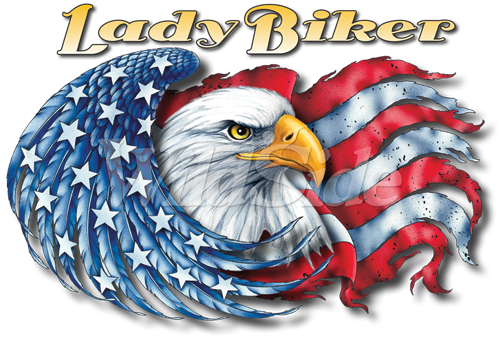 LADY BIKER, EAGLE WITH FLAG - 13104 - The WildSide | Patriotic ... clip black and white