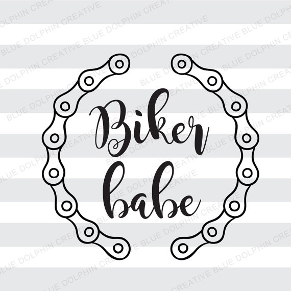 Biker babe bicycle chain frame SVG png pdf / Cricut, Silhouette cut ... png library stock