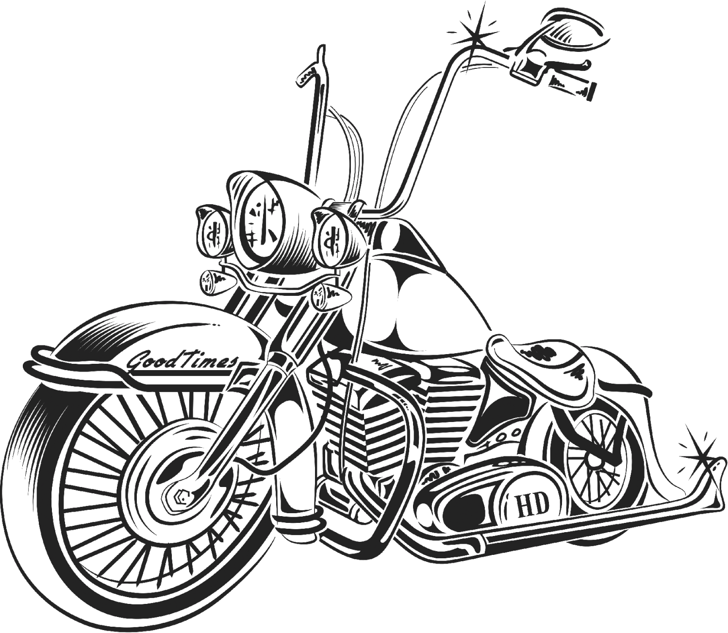 Dog on motorcycle clipart. Chopper drawing at getdrawings