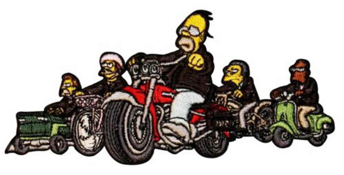 Biker gang clipart jpg transparent stock The Simpsons Homer Biker Gang Motorcycle Embroidered Iron On ... jpg transparent stock