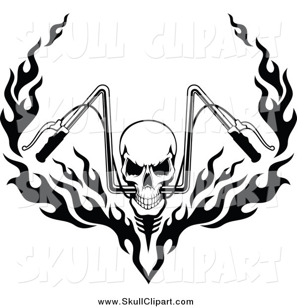 Biker skull clipart graphic free Vector Clip Art of a Black and White Skull and Flaming Motorcycle ... graphic free