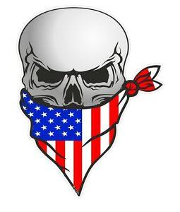 Biker skull clipart image freeuse download Details about Biker Skull With Face BANDANA & American Stars & Stripes US  USA Flag car sticker image freeuse download