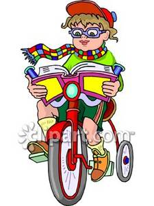 Bikes and books clipart clipart transparent Nerdy Boy Reading a Book on His Bike - Royalty Free Clipart Picture clipart transparent