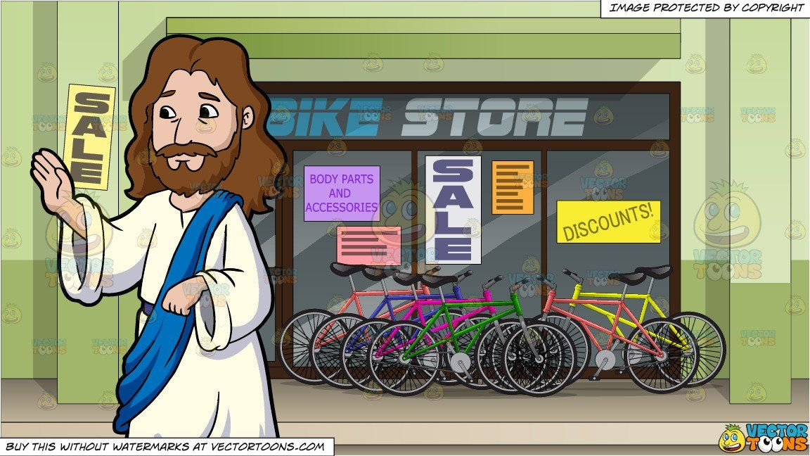 Bikes blessings cliparts picture royalty free download Jesus Christ Giving His Blessings and Exterior Of A Bike Shop ... picture royalty free download