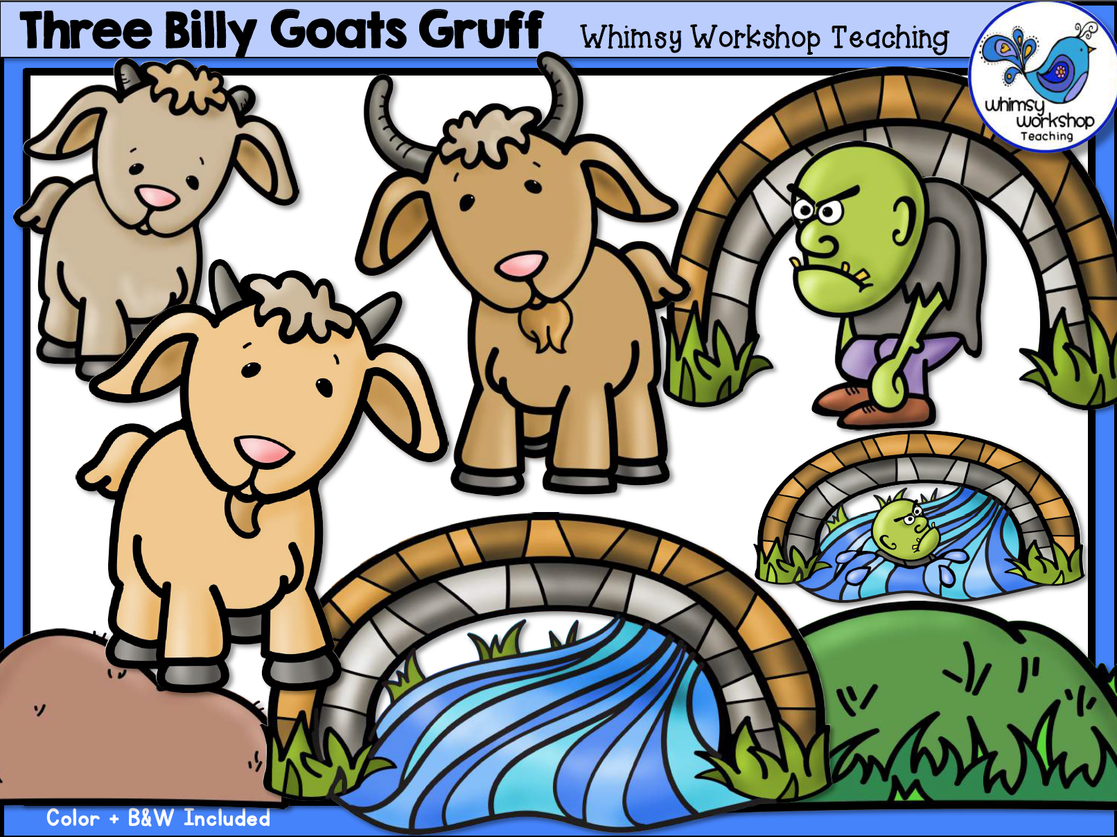 Billy goats gruff clipart images vector freeuse Three Billy Goats Gruff Clip Art | Down On the Farm | Billy goats ... vector freeuse