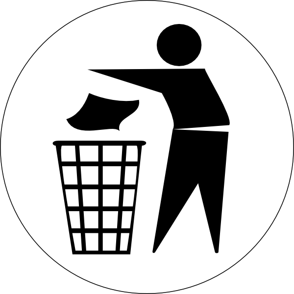 Clipart signage with clean up with garbage can