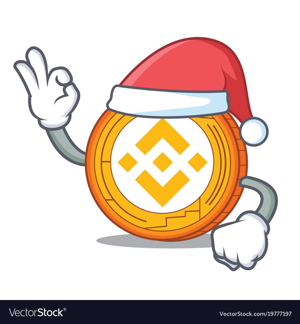 Santa binance coin mascot catoon graphic royalty free download