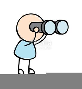 Person looking through binoculars clipart