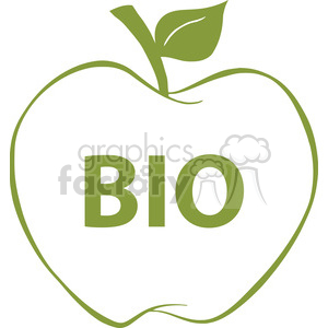Bio clipart jpg library 12921 RF Clipart Illustration Apple With Green Outline And Text BIO  clipart. Royalty-free clipart # 385108 jpg library