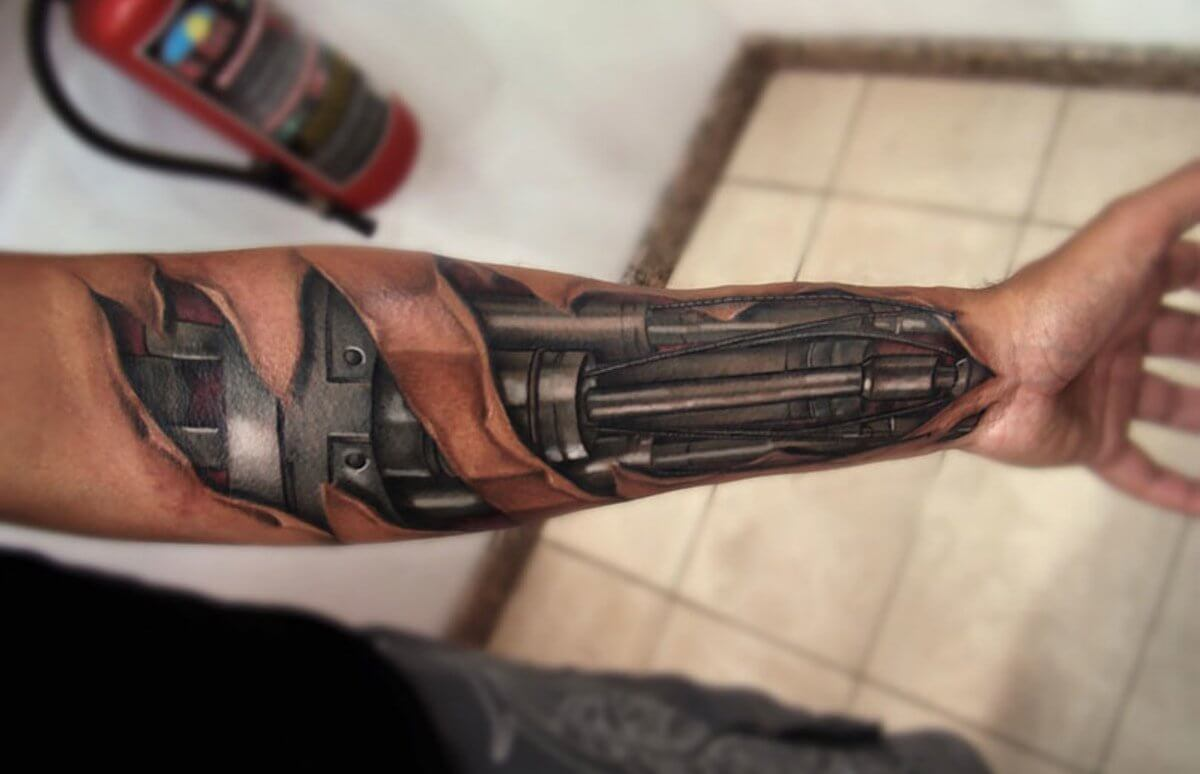 Top 80 Best BioMechanical Tattoos for Men | Improb png free