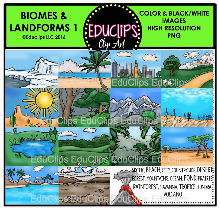 Biomes clipart royalty free Biomes And Landforms Clip Art Bundle (Color and B&W) royalty free